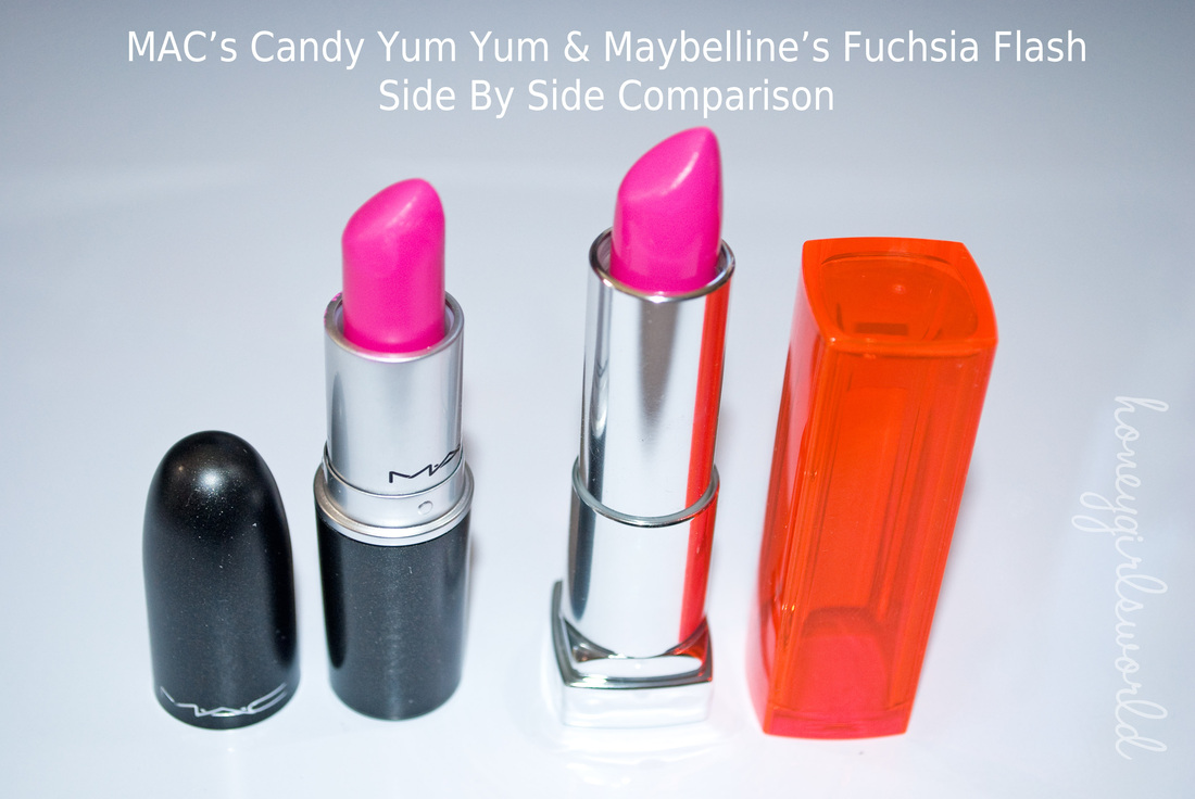 DUPE ALERT: MAC's Candy Yum Yum vs. Maybelline's Fuchsia Flash