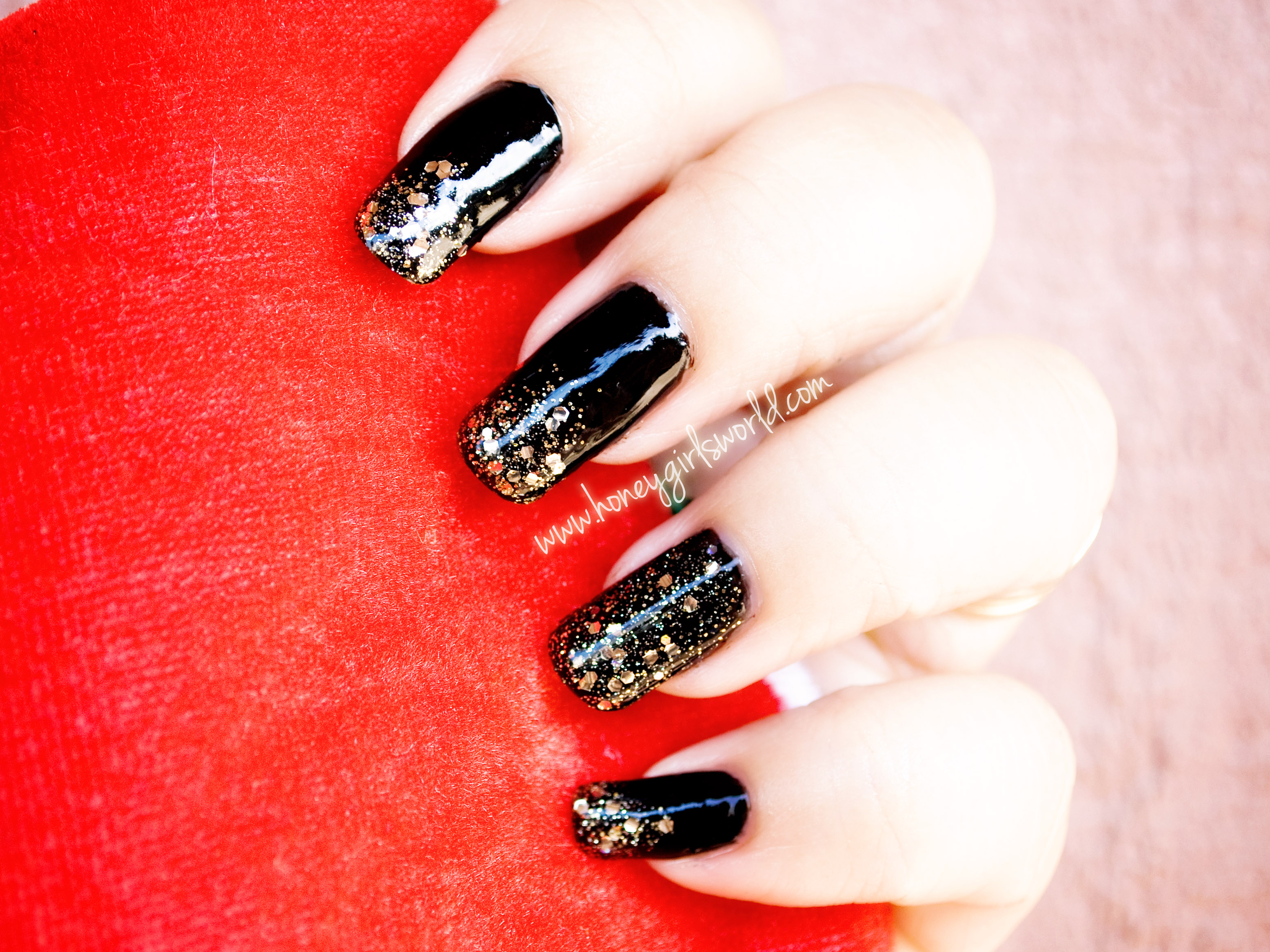 Black sparkle holiday nails