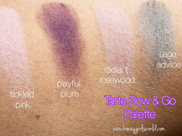 Tarte bow and go swatches 1