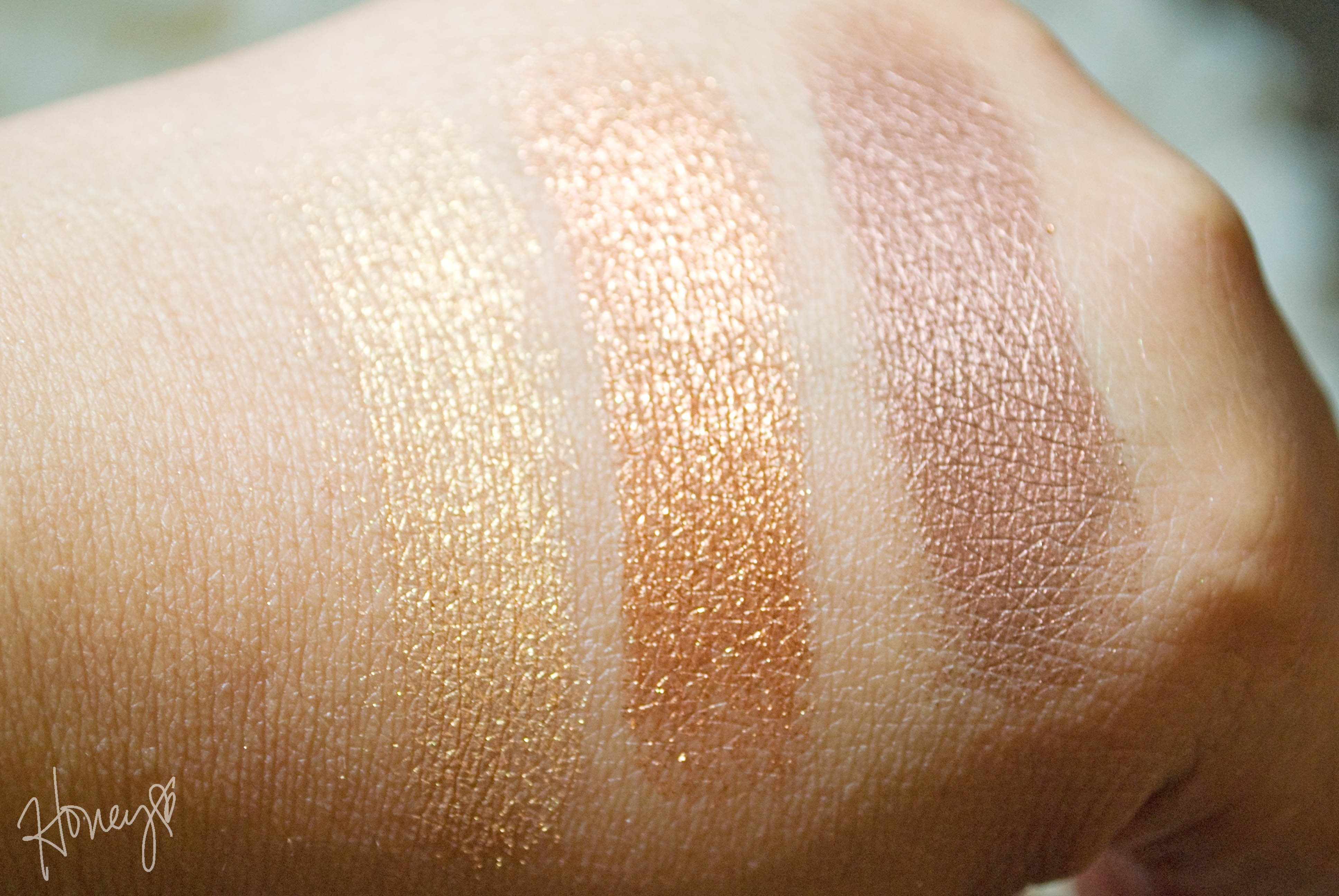 Bella Gold, Bella Copper, Bella Bronze Swatches