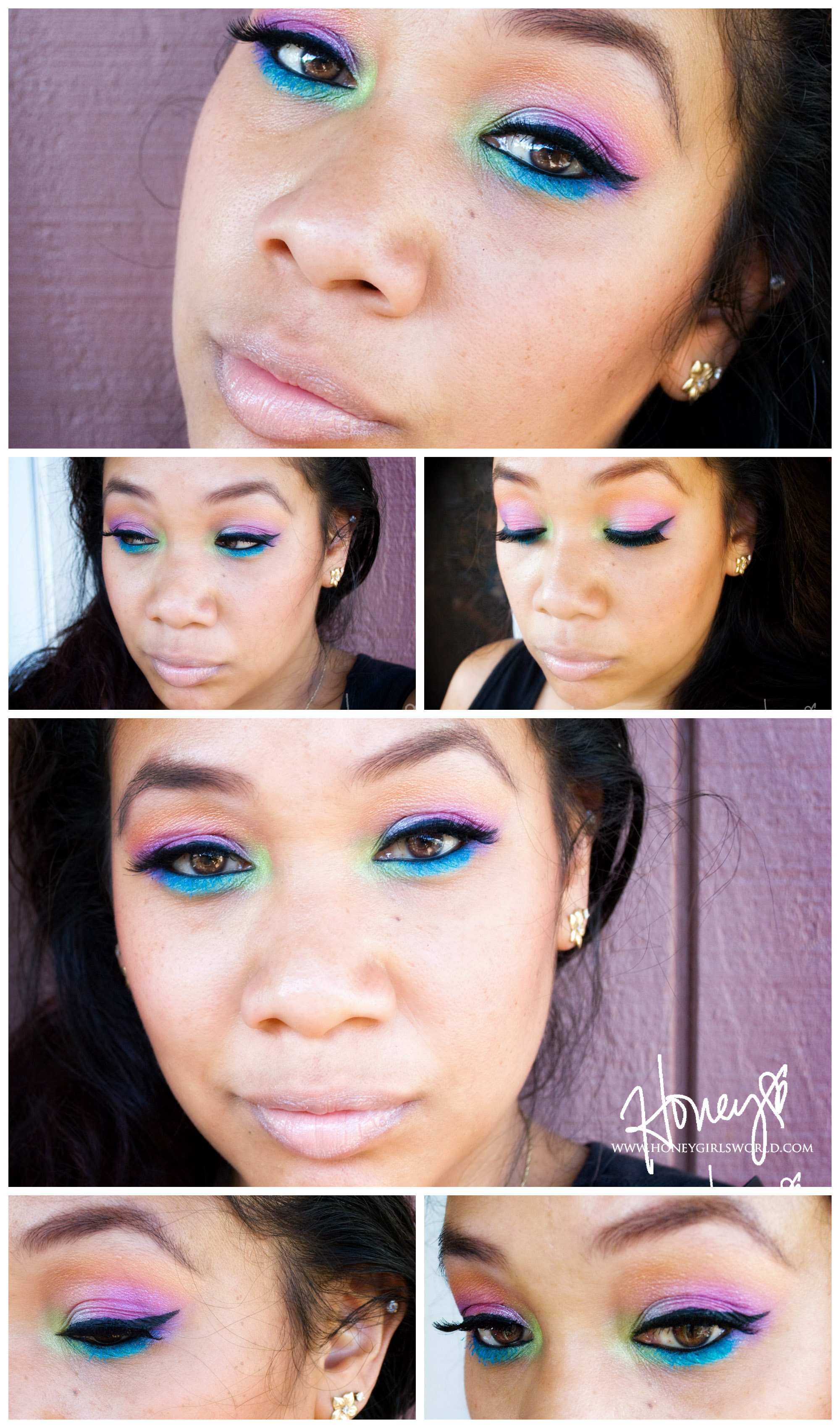 Tropical Paradise Rainbow Makeup Tutorial