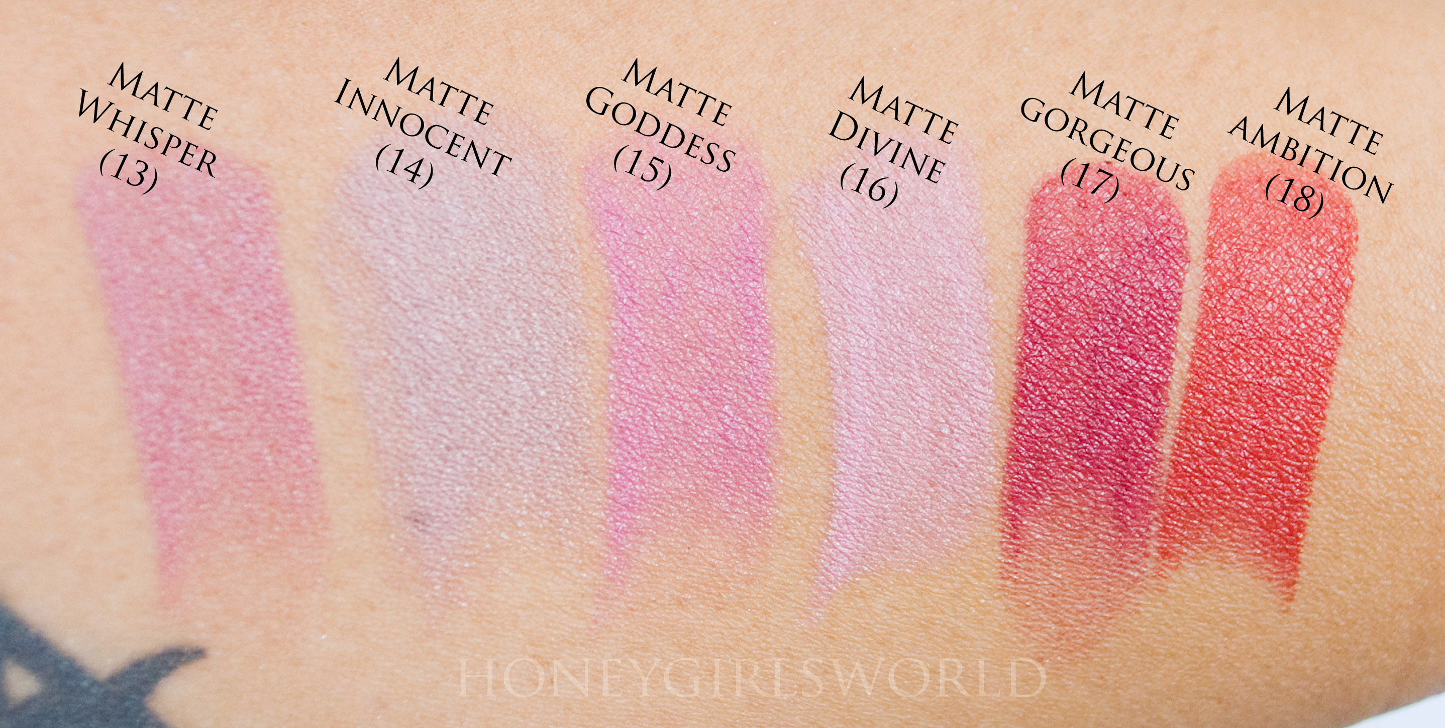 Jordana Modern Matte Lipsticks swatches