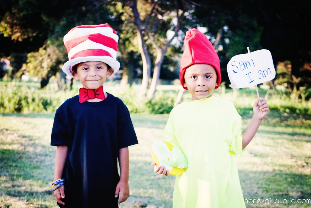 Book Character Dress Up Day - Easy DIY Dr. Seuss Cat In The Hat and Sam I Am Costumes