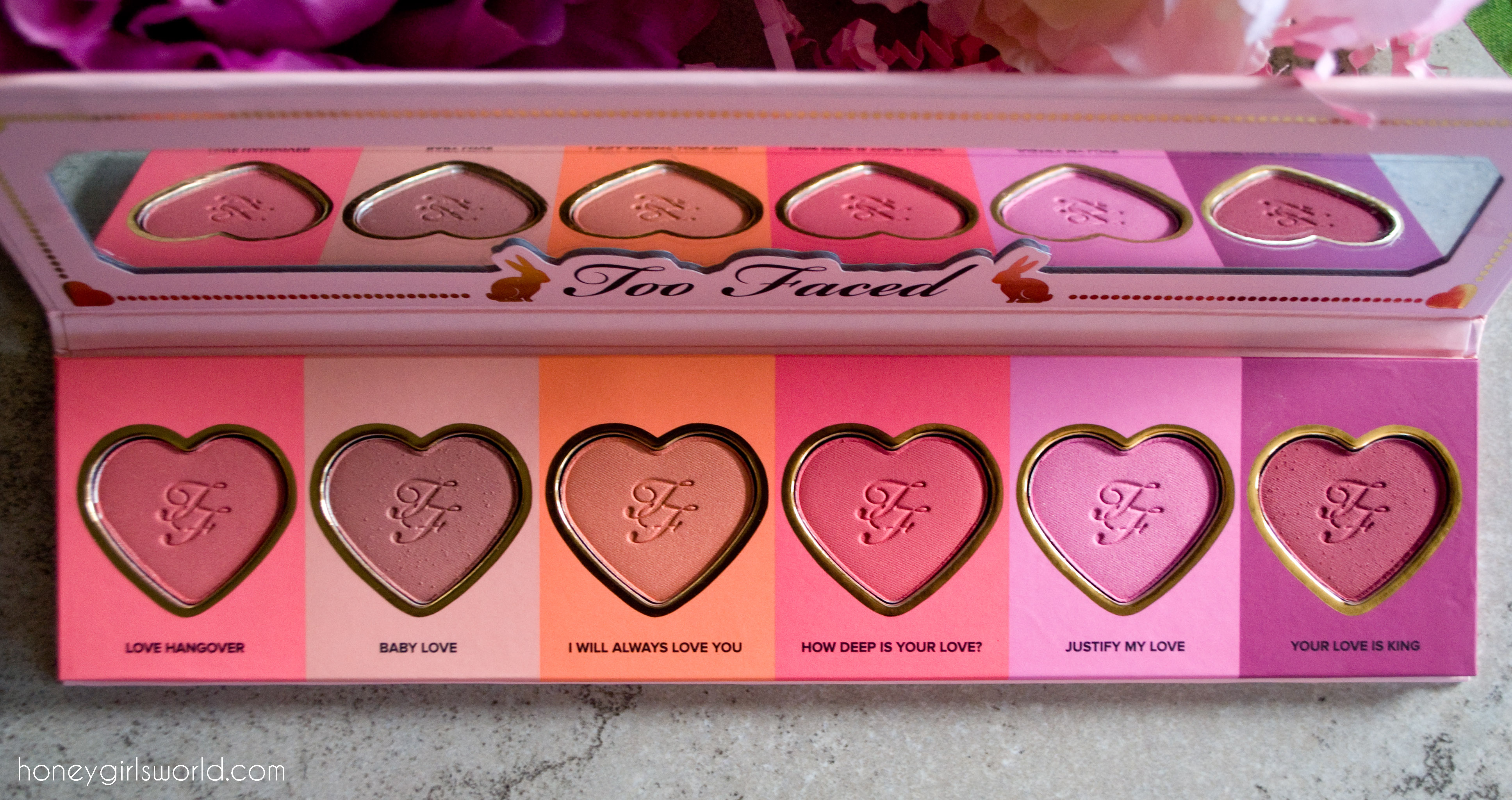 Too Faced Love Flush Blush, Too Faced Love Flush blush wardrobe, blush palette, swatches, review, too faced, cosmetics, makeup, blush, face products, cheeks, product review, beauty,