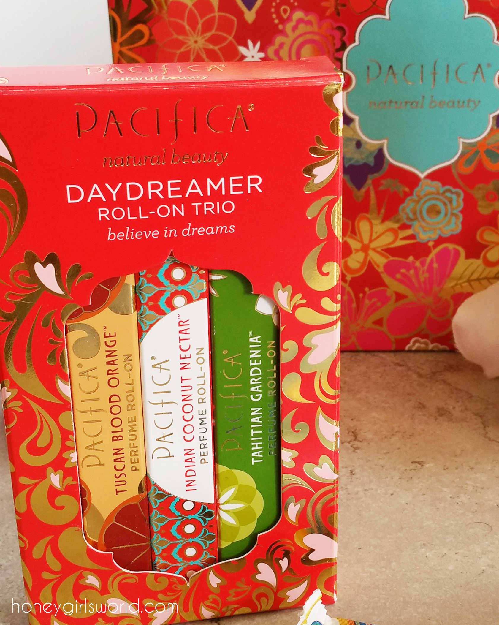 Pacifica, Daydreamer roll-on trio, target, perfume, fragrance, coco pure travel size, super hydrating hand cream, indian coconut nectar hand cream, tuscan blood orange hand cream, made to matter, pacifica beauty,