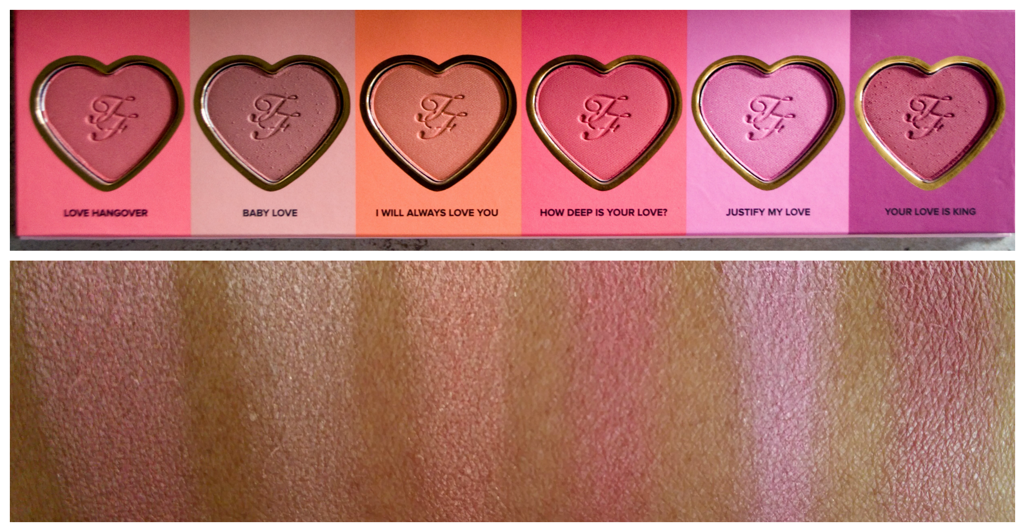 too faced love flush blush wardrobe palette   review
