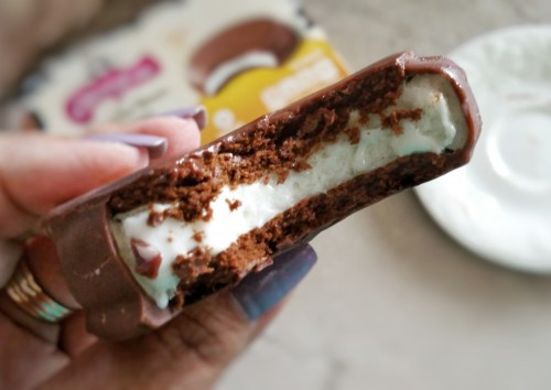 summer indulgence, skinny cow chocolate dipped ice cream sandwich, ice cream sandwich, skinny cow, food, treat, ice cream,