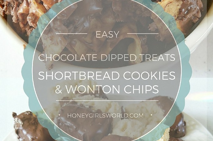 Easy Chocolate Dipped Shortbread Cookies and Wonton Chips Recipe With Hershey's
