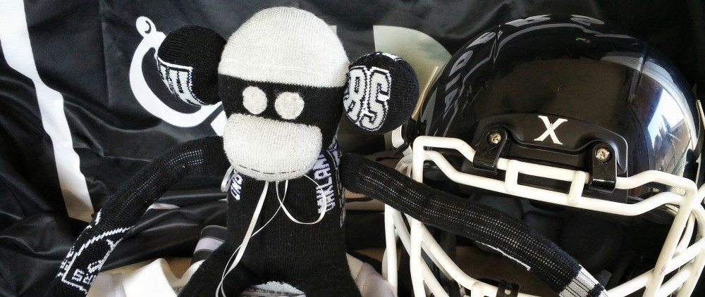 sock monkey, missy's monkeys, crafts, handmade, Raiders, team pride, childhood memories, memories, gift, review, etsy, handmade gift, monkey, child, kid,